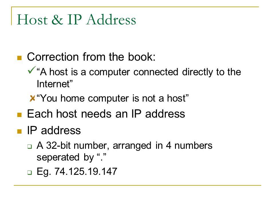 DNS (Domain Name System) Domain name to IP address conversion Eg.