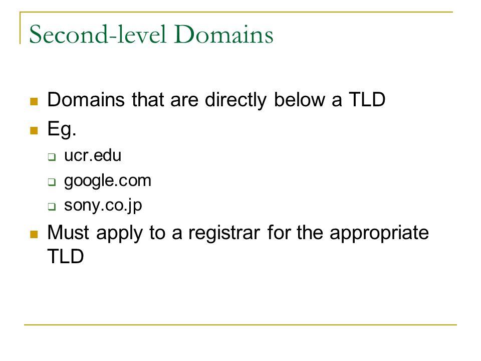 Domain Names & Registrars Profitable domain names CreditCards.com - $2.75M Loans.com – $3M Business.com - $7.5M Network Solutions, Inc used to monopolize the name registration Now, ~500 registrars