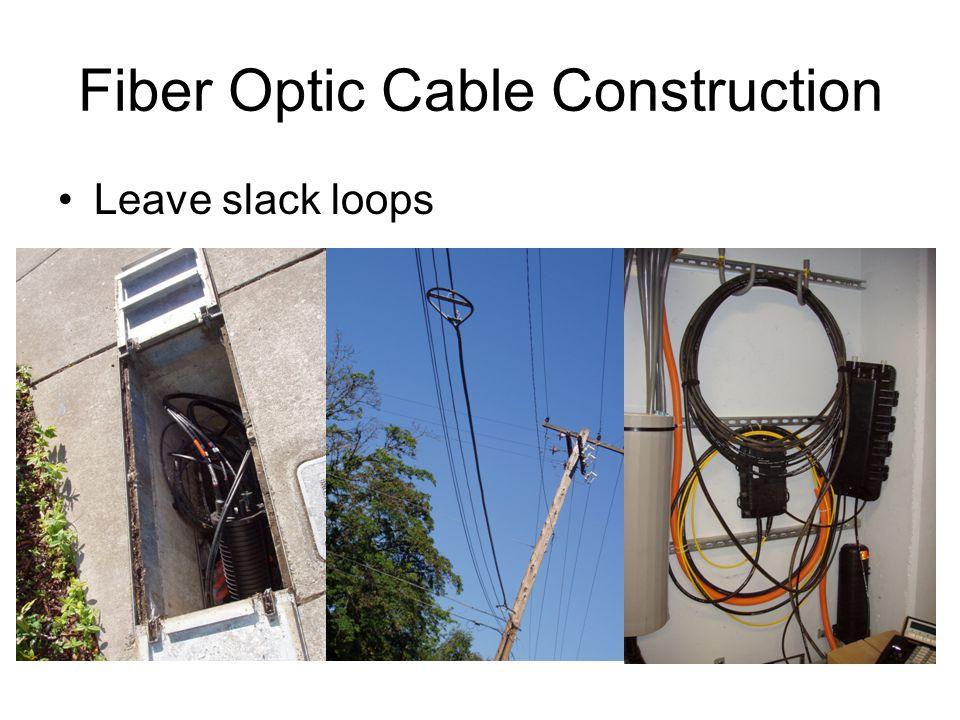 Fiber Optic Cable Construction Leave slack loops