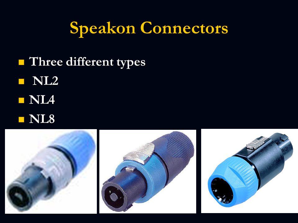Speakon Connectors Three different types Three different types NL2 NL2 NL4 NL4 NL8 NL8
