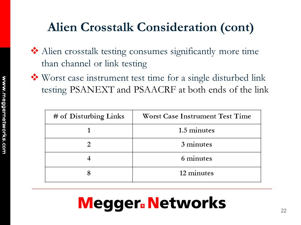 22 www.meggernetworks.com Alien Crosstalk Consideration (cont) Alien crosstalk testing consumes significantly more time than channel or link testing Worst case instrument test time for a single disturbed link testing PSANEXT and PSAACRF at both ends of the link # of Disturbing LinksWorst Case Instrument Test Time 11.5 minutes 23 minutes 46 minutes 812 minutes