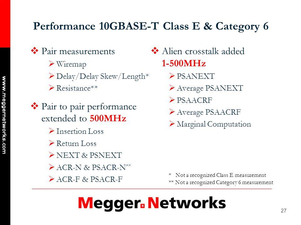 27 www.meggernetworks.com Performance 10GBASE-T Class E & Category 6 Pair measurements Wiremap Delay/Delay Skew/Length* Resistance** Pair to pair performance extended to 500MHz Insertion Loss Return Loss NEXT & PSNEXT ACR-N & PSACR-N ** ACR-F & PSACR-F Alien crosstalk added 1-500MHz PSANEXT Average PSANEXT PSAACRF Average PSAACRF Marginal Computation * Not a recognized Class E measurement ** Not a recognized Category 6 measurement