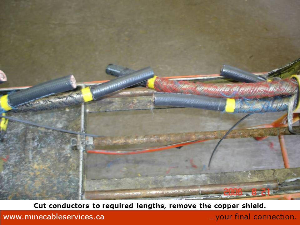 …your final connection.www.minecableservices.ca Mine Cable Services Corporation. Cut conductors to required lengths, remove the copper shield.