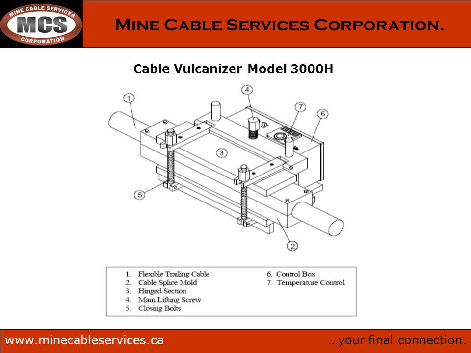 …your final connection.www.minecableservices.ca Mine Cable Services Corporation. Cable Vulcanizer Model 3000H