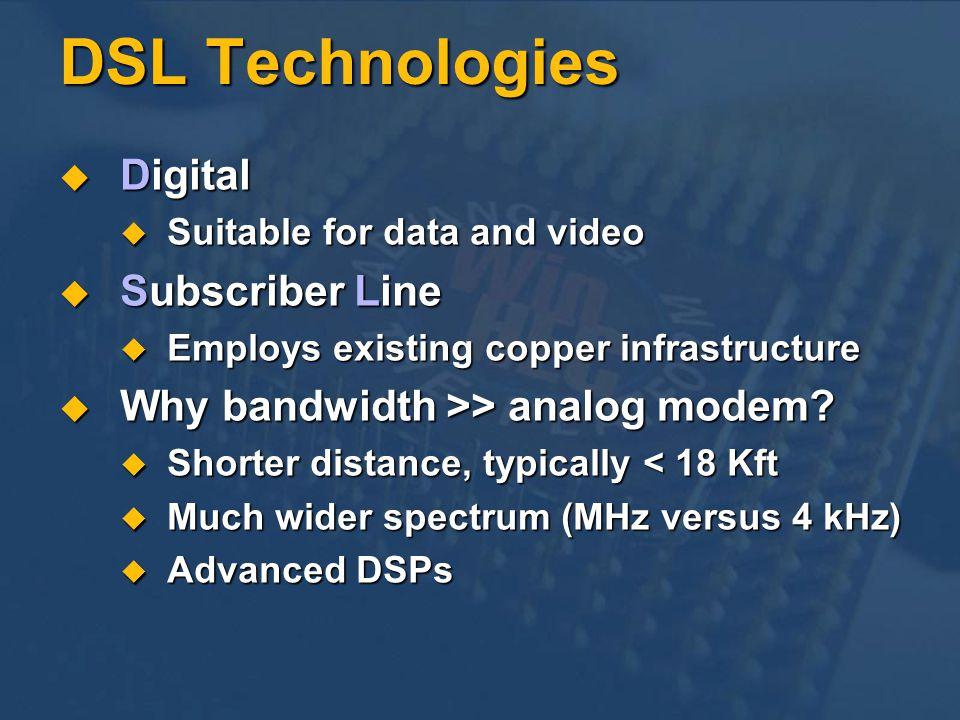 DSL Technologies Digital Digital Suitable for data and video Suitable for data and video Subscriber Line Subscriber Line Employs existing copper infra