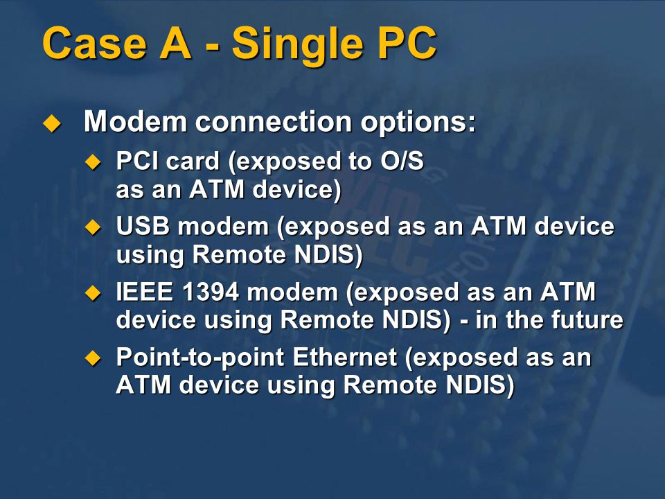 Case A - Single PC Modem connection options: Modem connection options: PCI card (exposed to O/S as an ATM device) PCI card (exposed to O/S as an ATM d