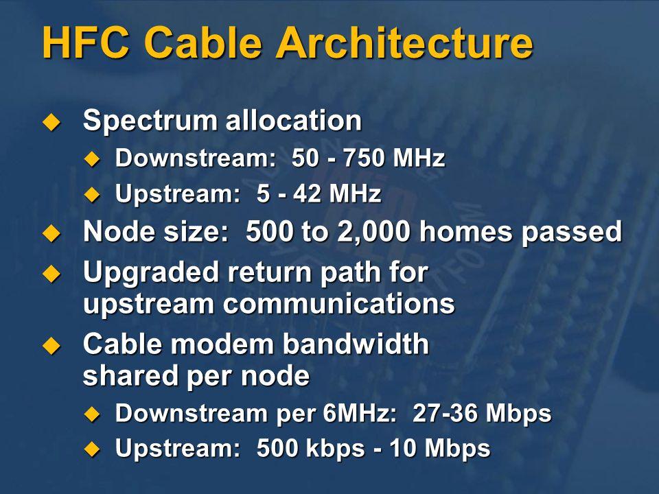 HFC Cable Architecture Spectrum allocation Spectrum allocation Downstream: 50 - 750 MHz Downstream: 50 - 750 MHz Upstream: 5 - 42 MHz Upstream: 5 - 42