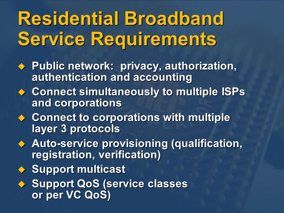 Conclusion Residential Broadband Services Tidal wave coming Residential Broadband Services Tidal wave coming G.Lite (G.992.2) allows rapid DSL deployment to millions of homes G.Lite (G.992.2) allows rapid DSL deployment to millions of homes PPP over ATM is the target End-to-End protocol architecture for DSL systems PPP over ATM is the target End-to-End protocol architecture for DSL systems For both ADSL and G.Lite For both ADSL and G.Lite Cable: DOCSIS is the (de facto) standard Cable: DOCSIS is the (de facto) standard For rapid nationwide rollout, must focus on For rapid nationwide rollout, must focus on Interoperability (both physical and higher layers) Interoperability (both physical and higher layers) Auto-service provisioning (true plug and play) Auto-service provisioning (true plug and play)