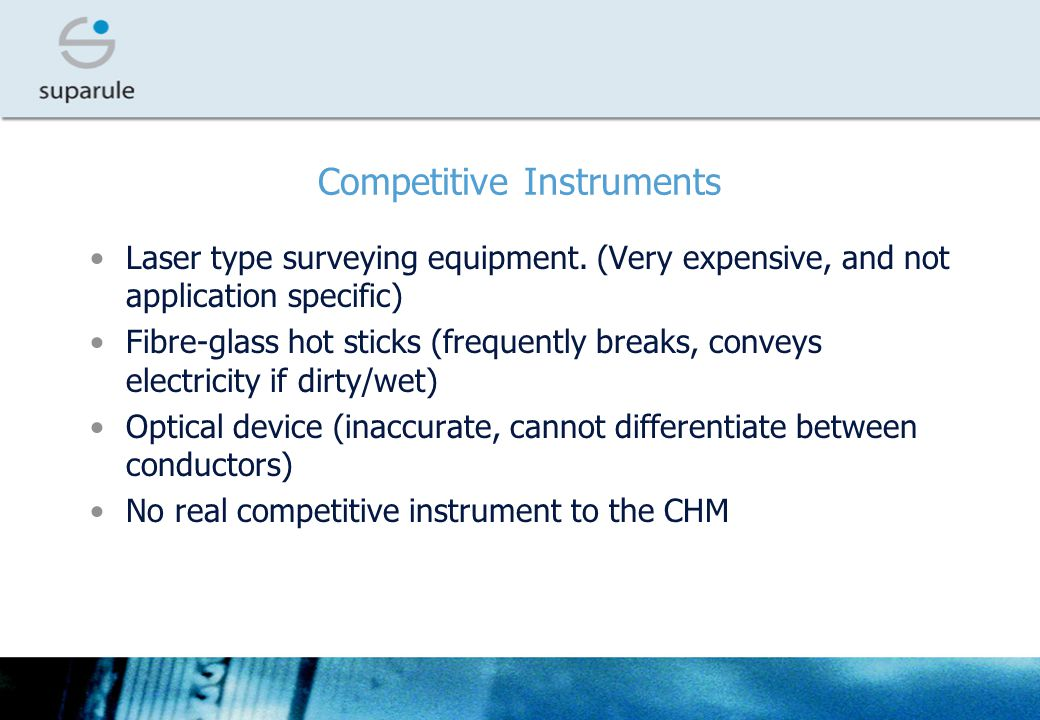 Competitive Instruments Laser type surveying equipment.