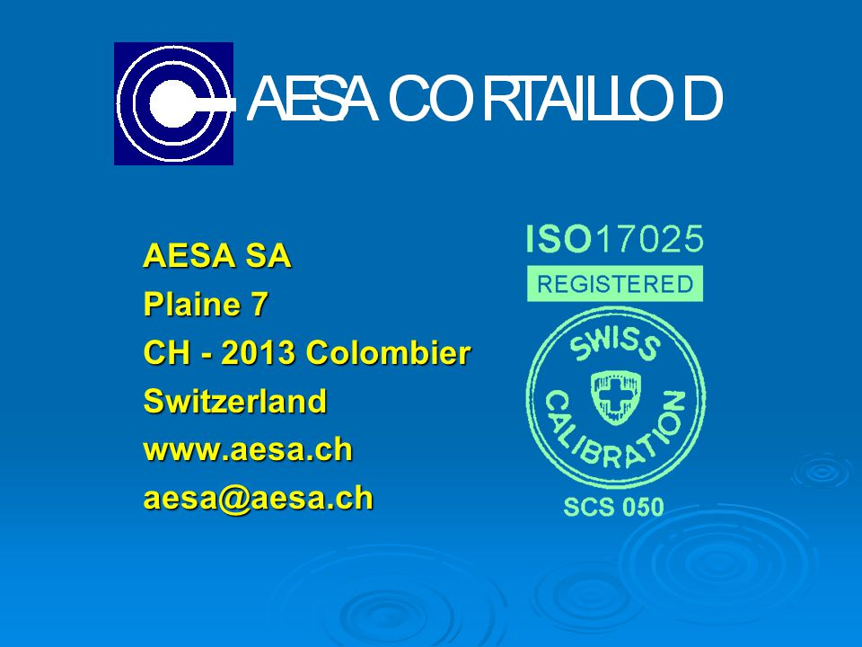 AESA SA Plaine 7 CH - 2013 Colombier Switzerlandwww.aesa.chaesa@aesa.ch