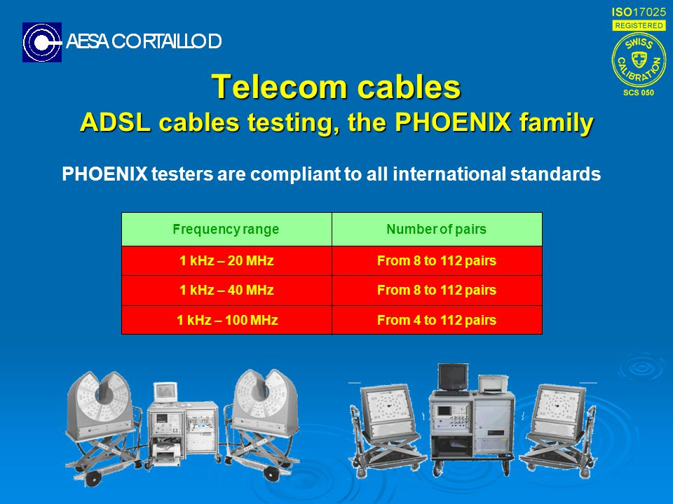 Telecom cables ADSL cables testing, the PHOENIX family PHOENIX testers are compliant to all international standards From 8 to 112 pairs1 kHz – 40 MHz