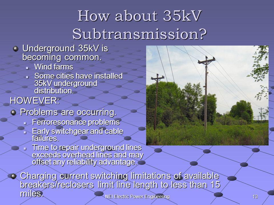 NEI Electric Power Engineering How about 35kV Subtransmission? Underground 35kV is becoming common. Wind farms Wind farms Some cities have installed 3