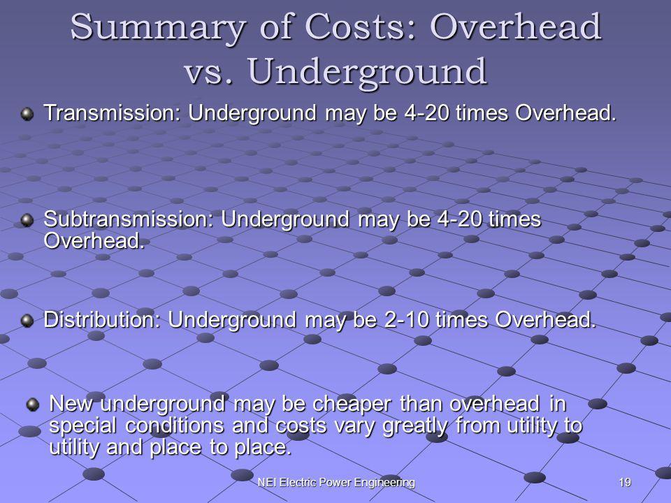 NEI Electric Power Engineering Summary of Costs: Overhead vs. Underground Transmission: Underground may be 4-20 times Overhead. Subtransmission: Under