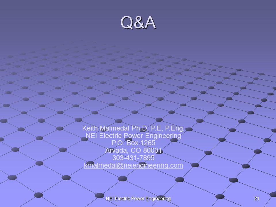 NEI Electric Power Engineering Q&A Keith Malmedal Ph.D. P.E, P.Eng. NEI Electric Power Engineering P.O. Box 1265 Arvada, CO 80001 303-431-7895 kmalmed