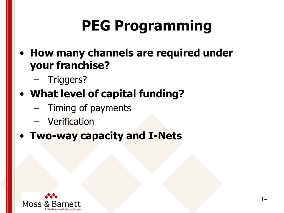 14 PEG Programming How many channels are required under your franchise.