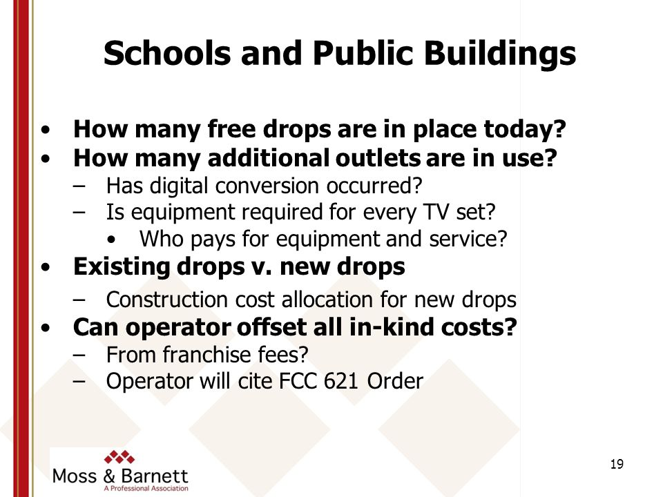 Schools and Public Buildings How many free drops are in place today.