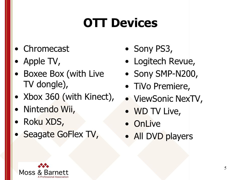 OTT Devices Chromecast Apple TV, Boxee Box (with Live TV dongle), Xbox 360 (with Kinect), Nintendo Wii, Roku XDS, Seagate GoFlex TV, Sony PS3, Logitech Revue, Sony SMP-N200, TiVo Premiere, ViewSonic NexTV, WD TV Live, OnLive All DVD players 5