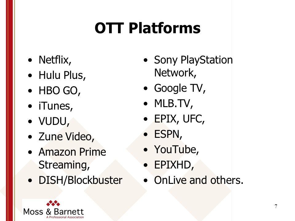 Netflix, Hulu Plus, HBO GO, iTunes, VUDU, Zune Video, Amazon Prime Streaming, DISH/Blockbuster Sony PlayStation Network, Google TV, MLB.TV, EPIX, UFC, ESPN, YouTube, EPIXHD, OnLive and others.