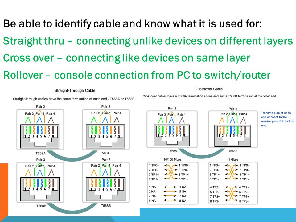 Be able to identify cable and know what it is used for: Straight thru – connecting unlike devices on different layers Cross over – connecting like dev