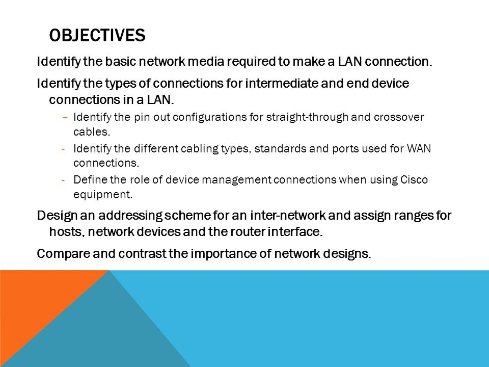 OBJECTIVES Identify the basic network media required to make a LAN connection. Identify the types of connections for intermediate and end device conne