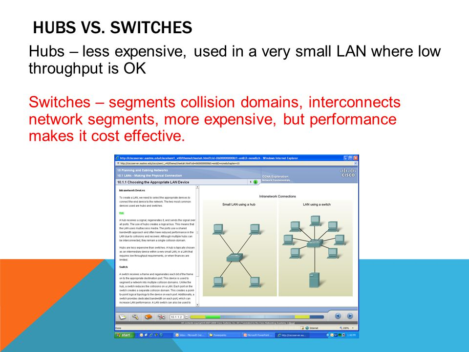 HUBS VS. SWITCHES Hubs – less expensive, used in a very small LAN where low throughput is OK Switches – segments collision domains, interconnects netw
