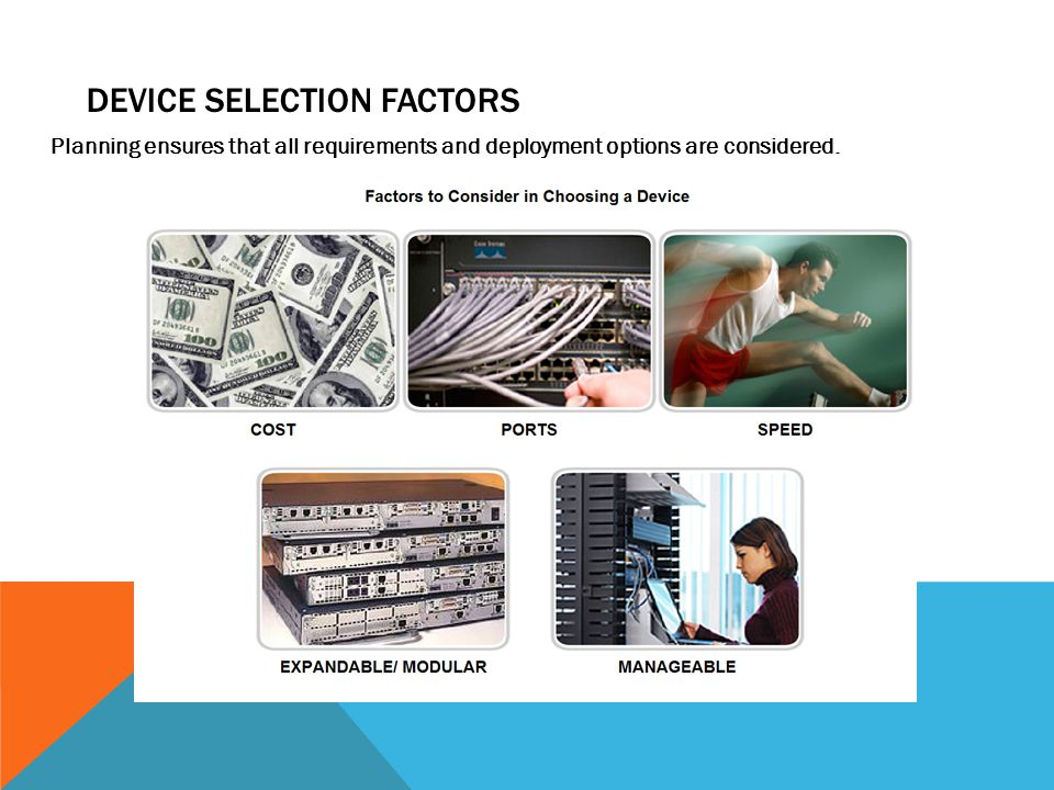 DEVICE SELECTION FACTORS Planning ensures that all requirements and deployment options are considered.