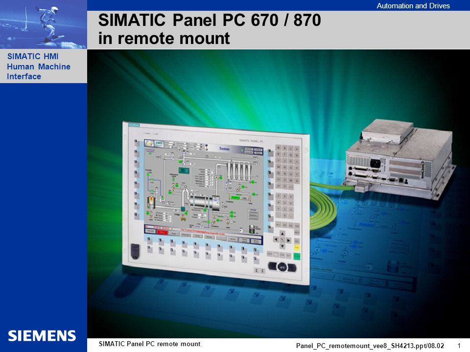 Automation and Drives SIMATIC HMI Human Machine Interface Panel_PC_remotemount_vee8_SH4213.ppt/08.02 1 SIMATIC Panel PC remote mount SIMATIC Panel PC