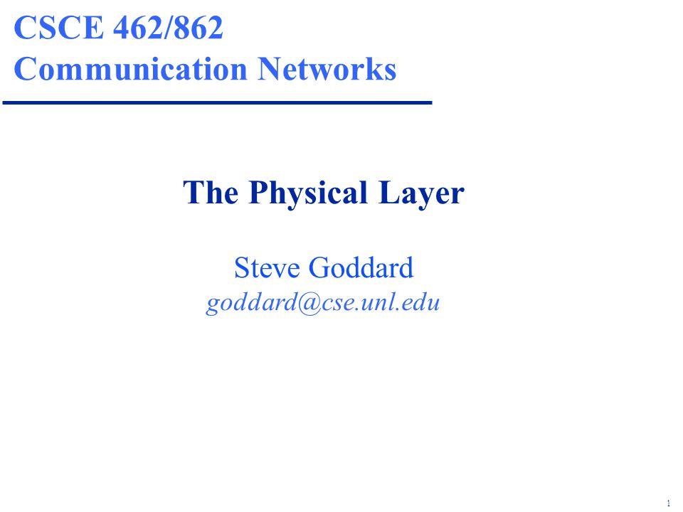1 CSCE 462/862 Communication Networks The Physical Layer Steve Goddard goddard@cse.unl.edu