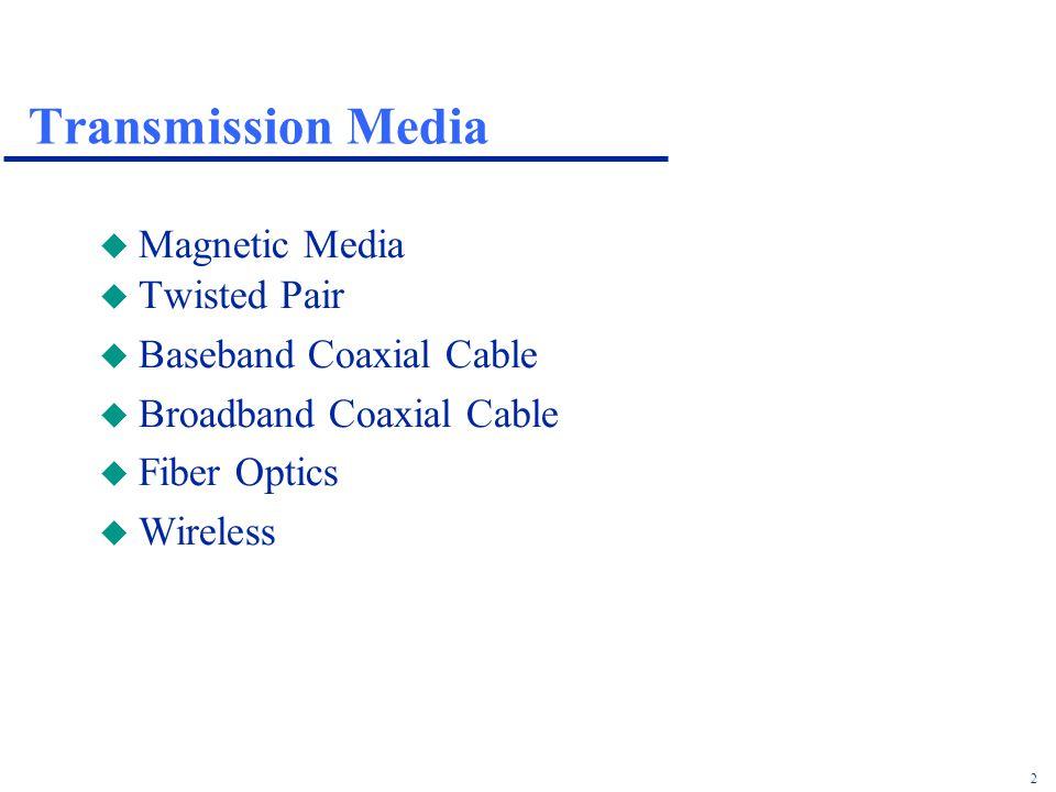 2 Transmission Media u Magnetic Media u Twisted Pair u Baseband Coaxial Cable u Broadband Coaxial Cable u Fiber Optics u Wireless