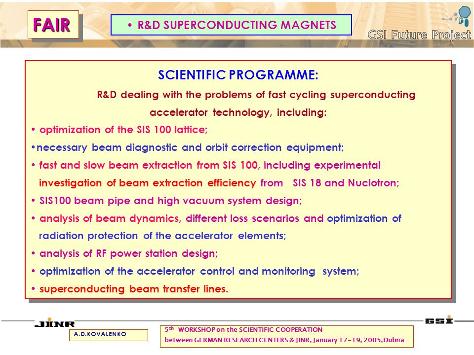 SCIENTIFIC PROGRAMME: R&D dealing with the problems of fast cycling superconducting accelerator technology, including: optimization of the SIS 100 lat