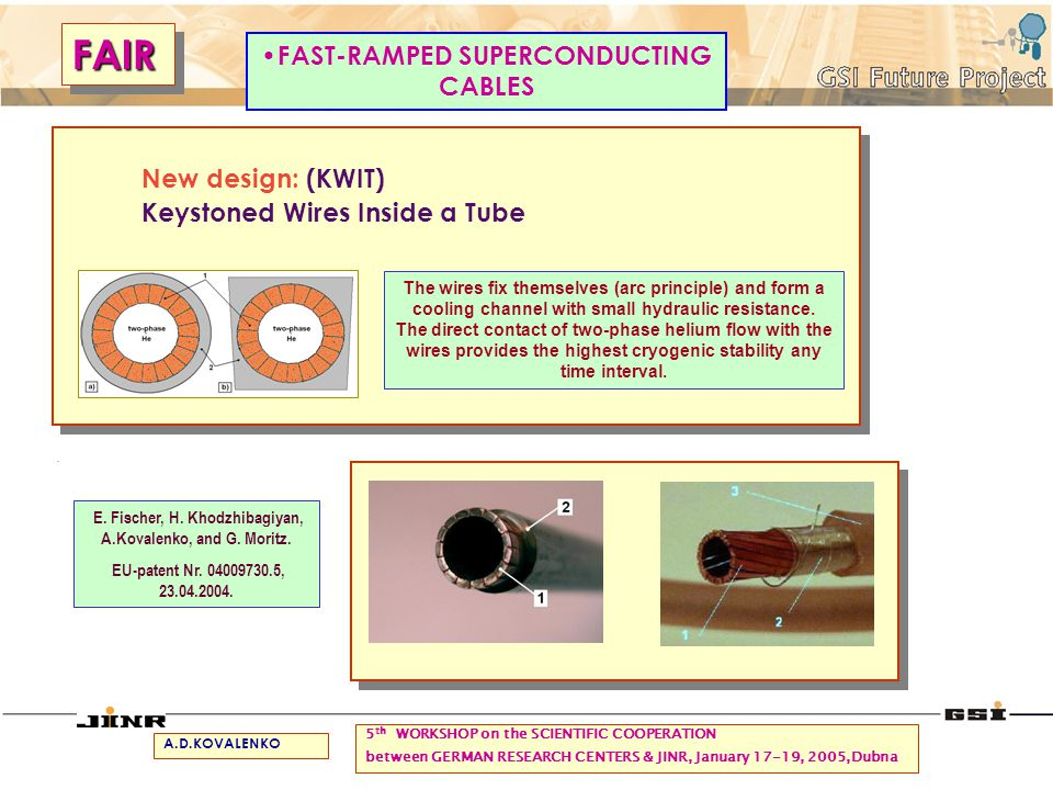 FAIRFAIR 5 th WORKSHOP on the SCIENTIFIC COOPERATION between GERMAN RESEARCH CENTERS & JINR, January 17-19, 2005,Dubna New design: (KWIT) Keystoned Wires Inside a Tube FAST-RAMPED SUPERCONDUCTING CABLES.