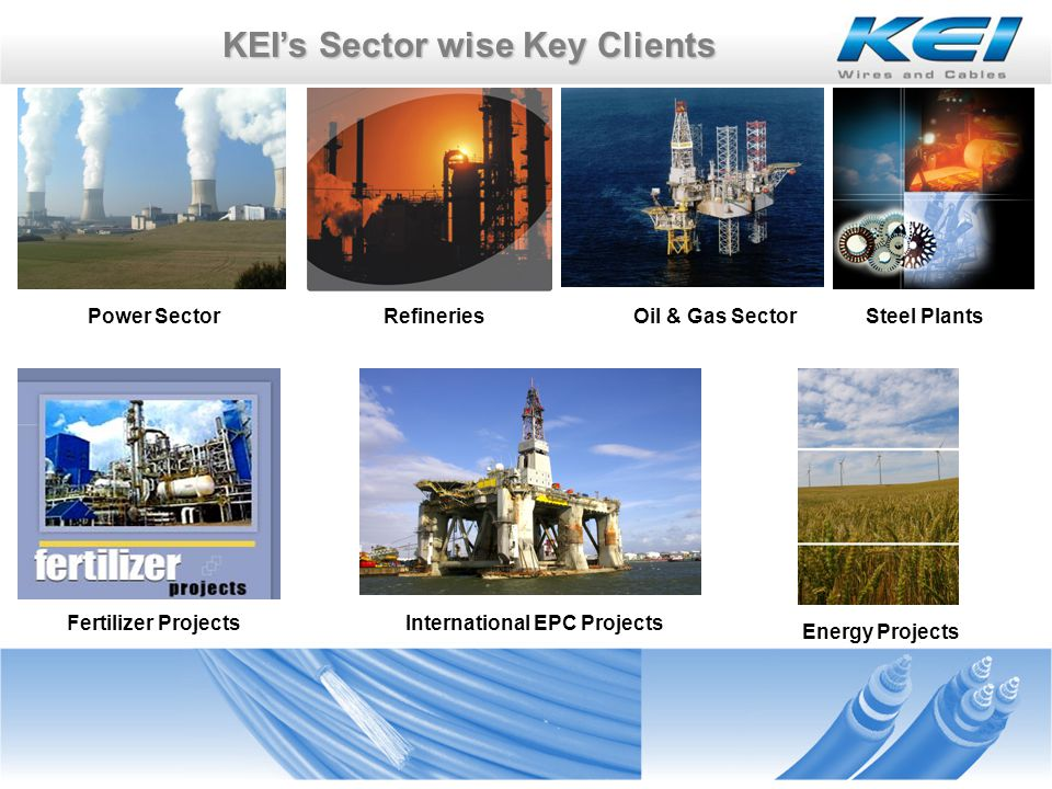 KEIs Sector wise Key Clients Our Power Sector Clients Power Grid Corporation of India Nuclear Power Corporation of India CEB Mauritius
