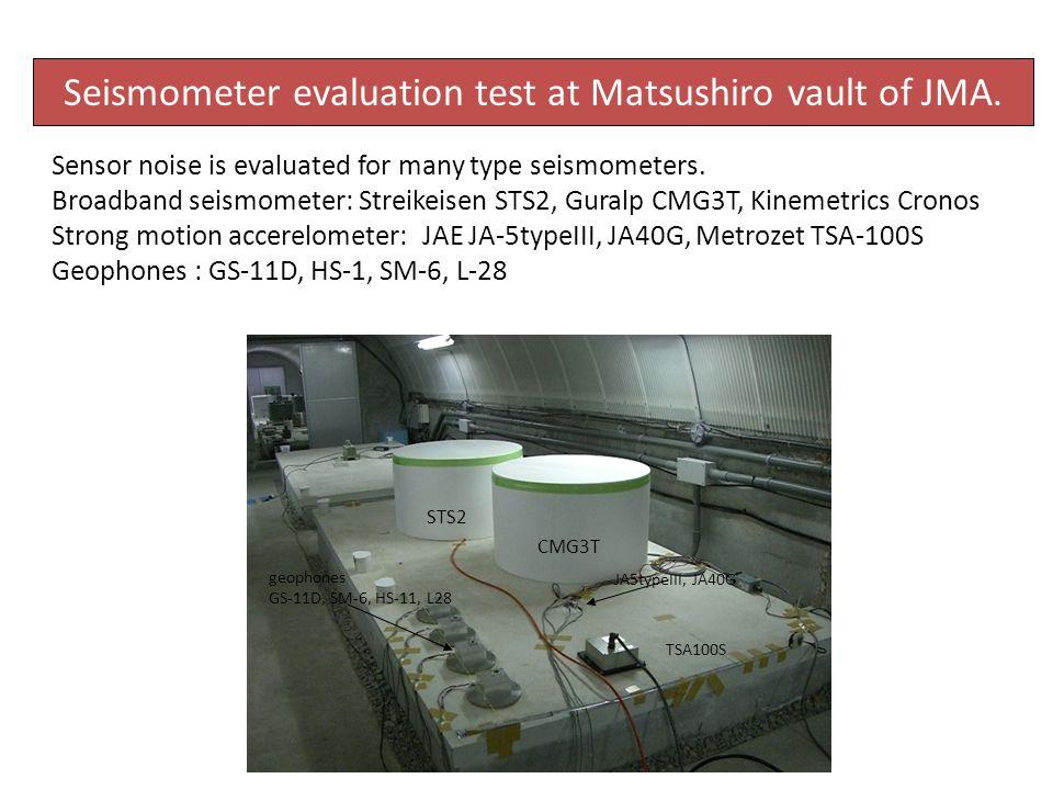Seismometer evaluation test at Matsushiro vault of JMA.