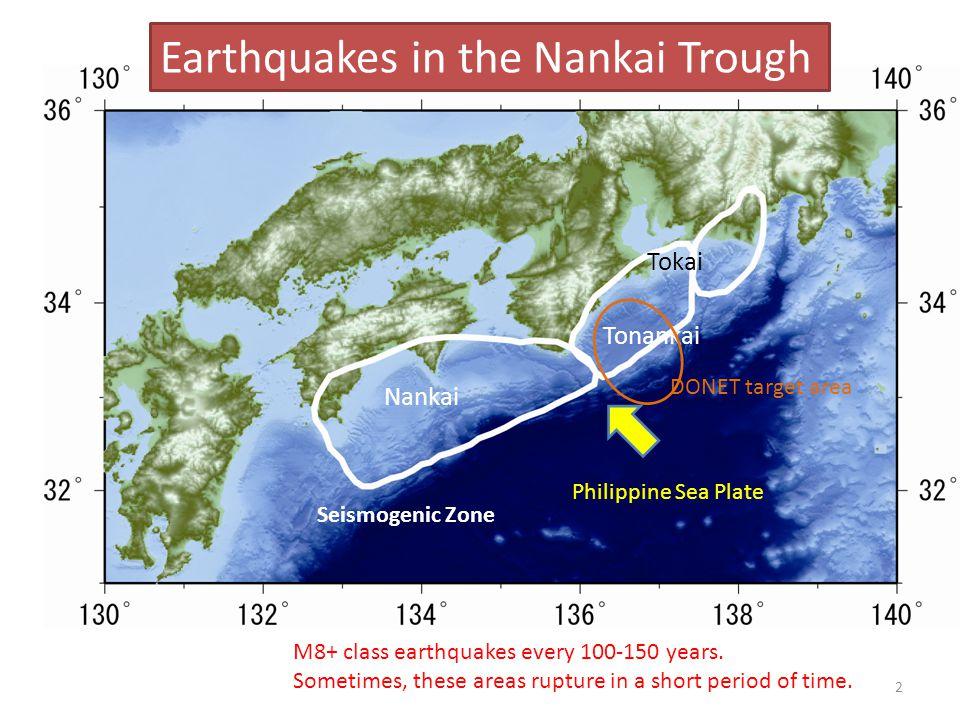 Nankai Tonankai Tokai M8+ class earthquakes every 100-150 years.