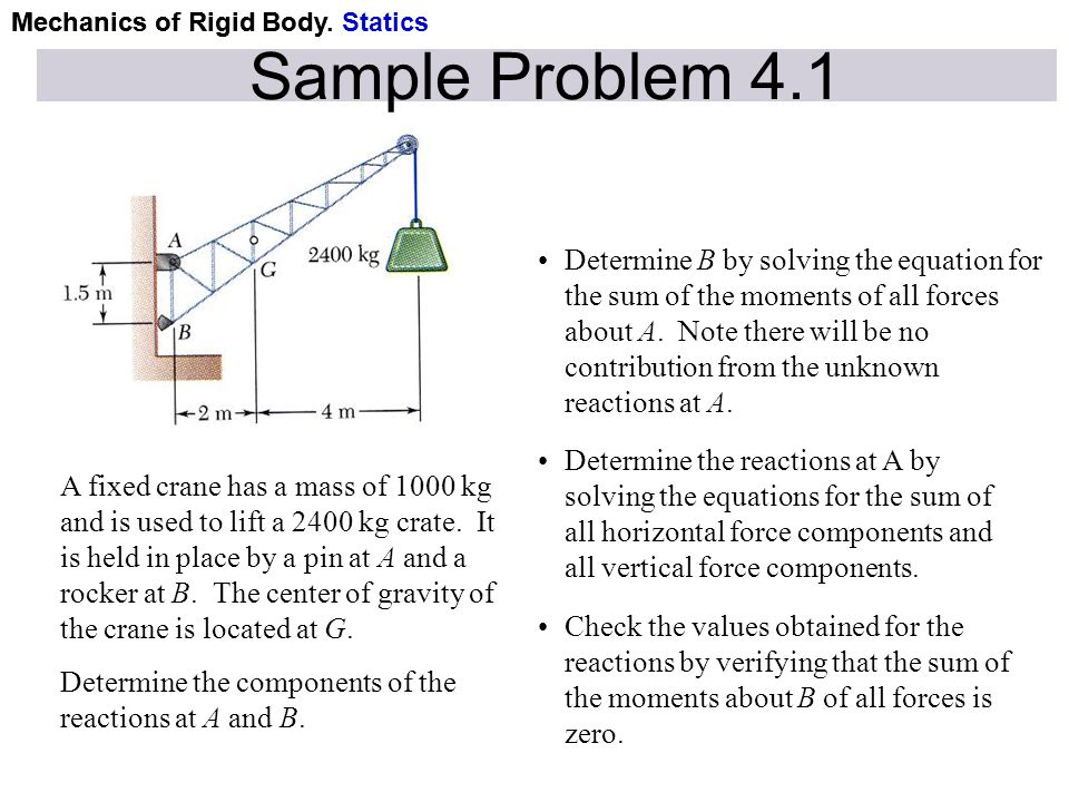 Mechanics of Rigid Body Sample Problem 4.1 A fixed crane has a mass of 1000 kg and is used to lift a 2400 kg crate. It is held in place by a pin at A