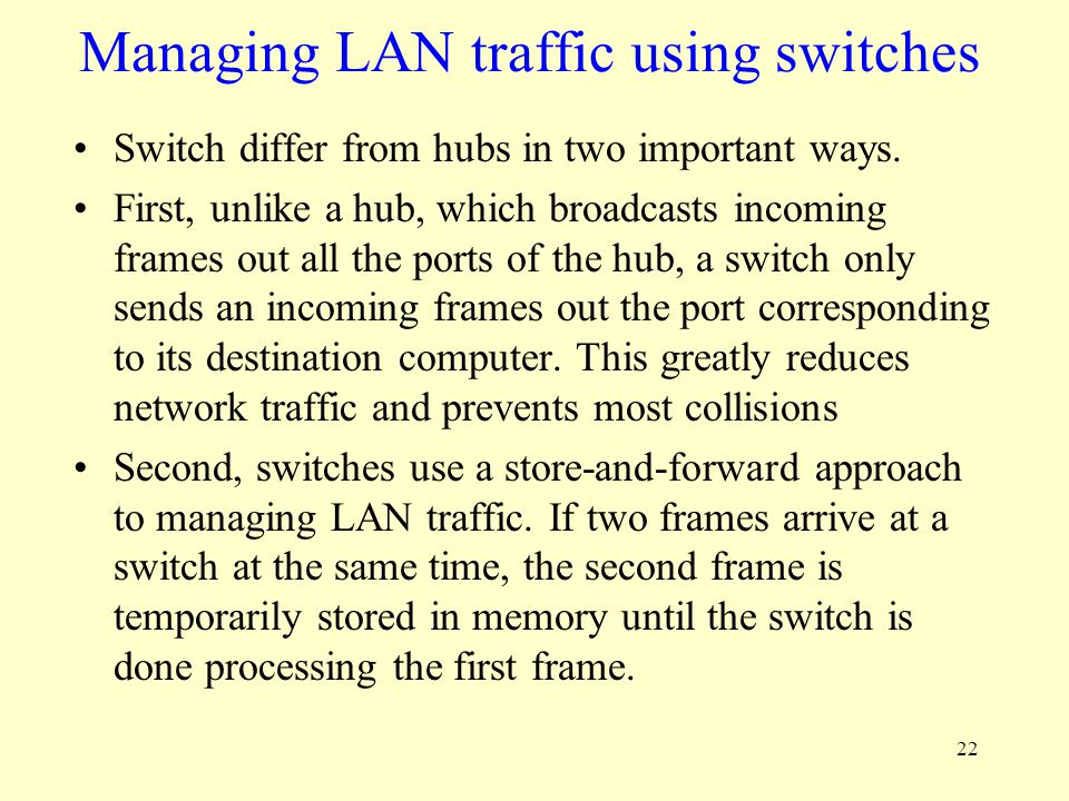 22 Managing LAN traffic using switches Switch differ from hubs in two important ways. First, unlike a hub, which broadcasts incoming frames out all th