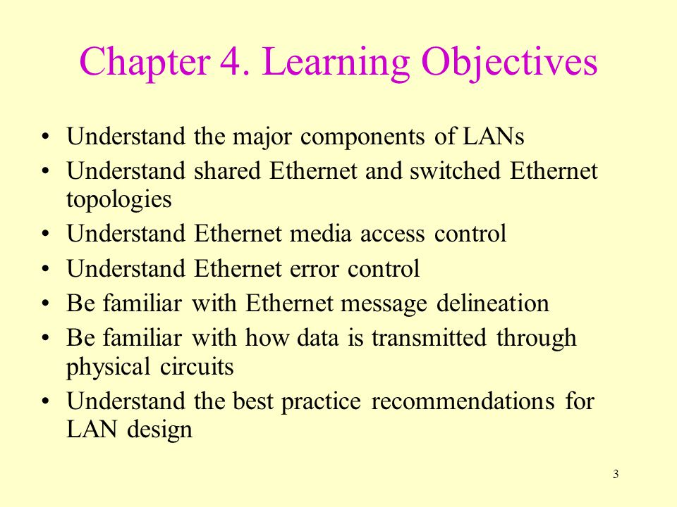 3 Chapter 4. Learning Objectives Understand the major components of LANs Understand shared Ethernet and switched Ethernet topologies Understand Ethern