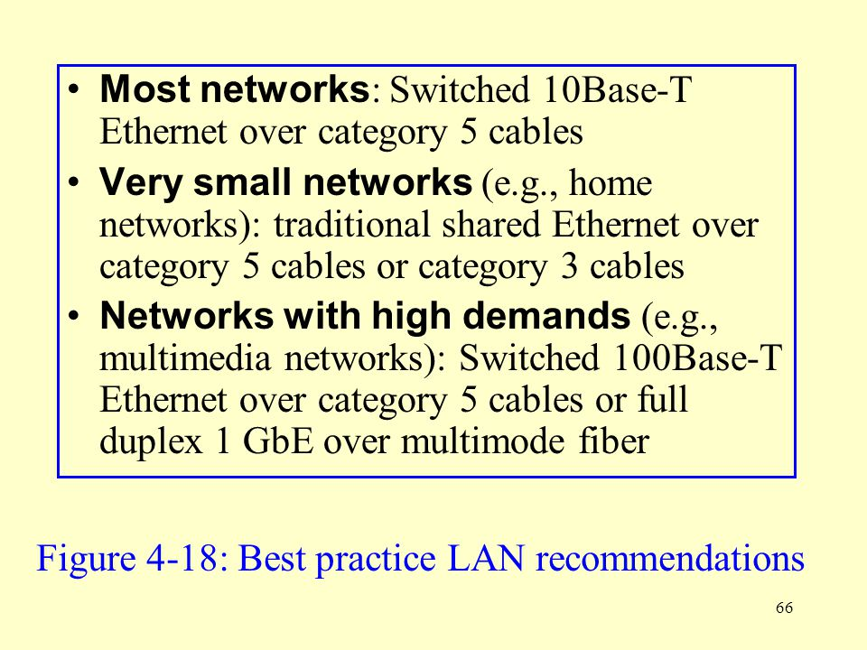 66 Most networks : Switched 10Base-T Ethernet over category 5 cables Very small networks (e.g., home networks): traditional shared Ethernet over categ