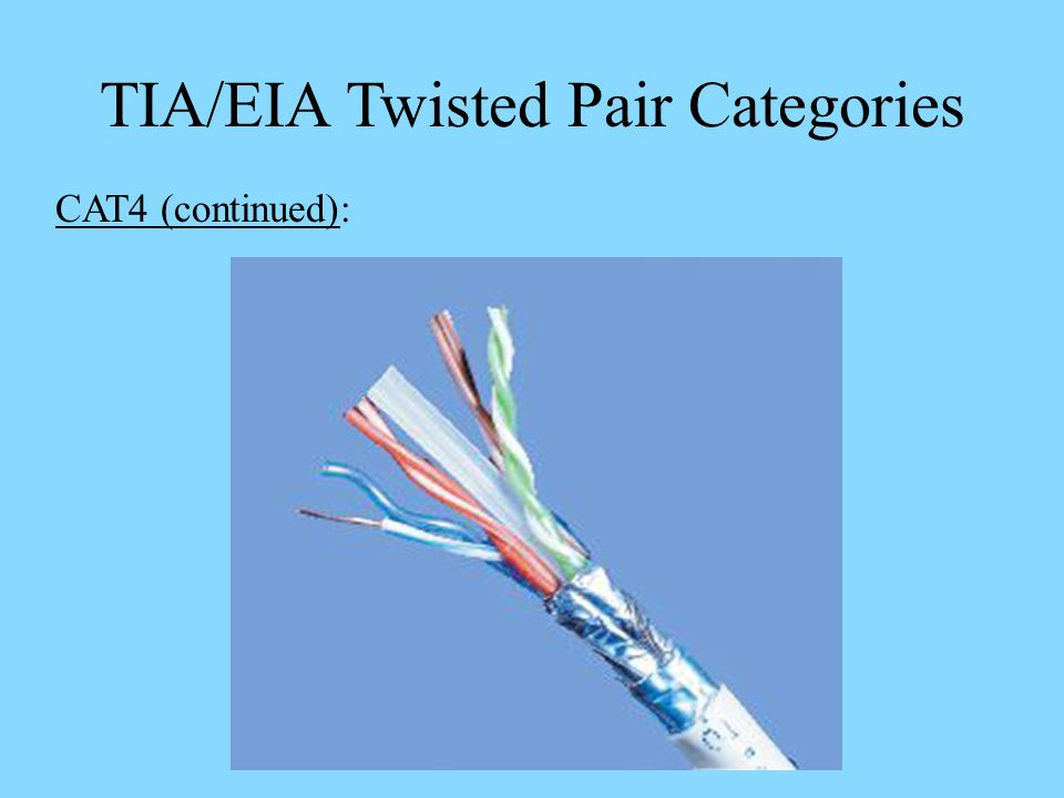 TIA/EIA Twisted Pair Categories CAT4 (continued):