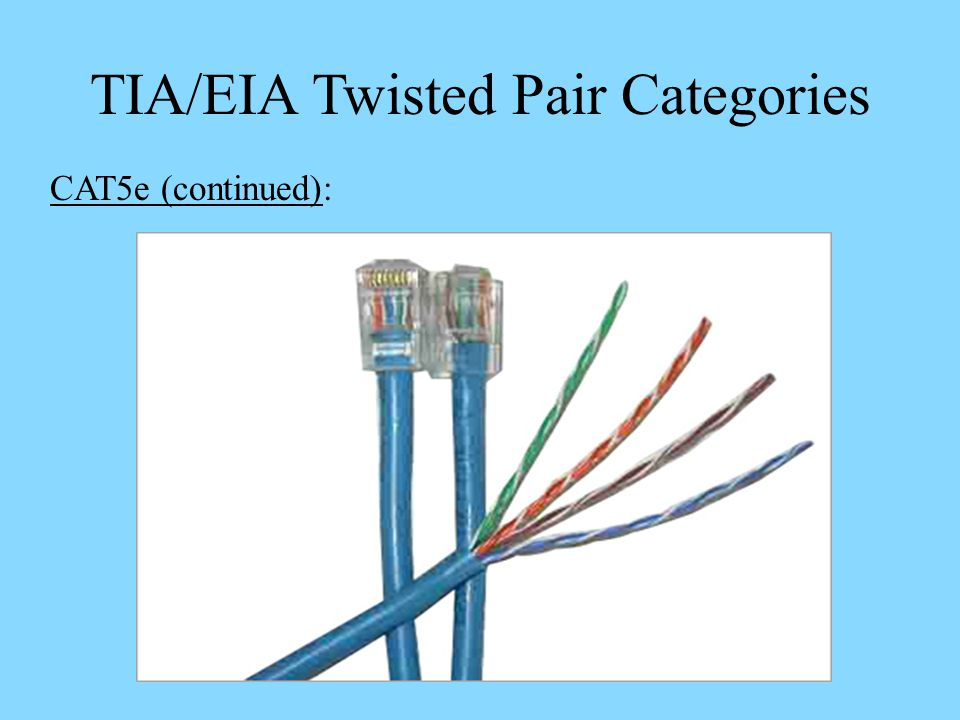 TIA/EIA Twisted Pair Categories CAT5e (continued):