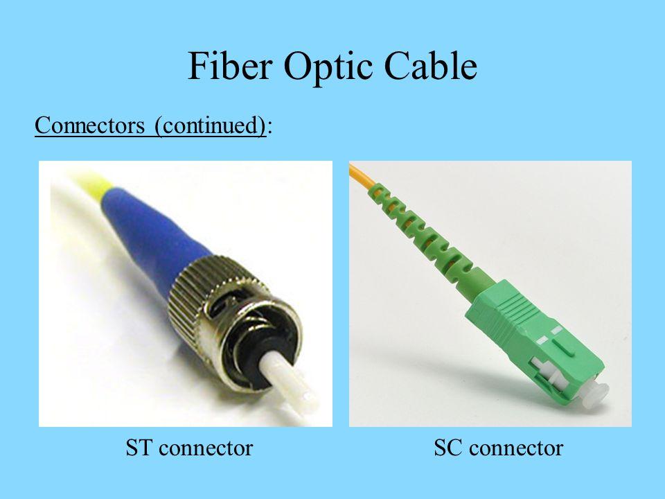 Fiber Optic Cable Connectors (continued): ST connectorSC connector