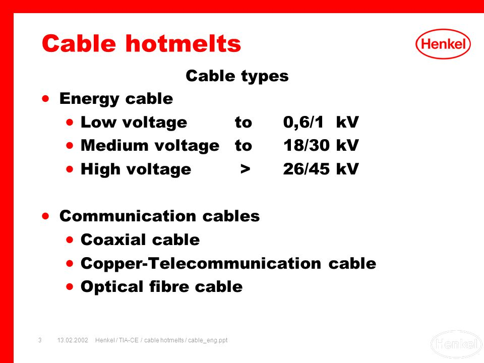 13.02.2002Henkel / TIA-CE / cable hotmelts / cable_eng.ppt3 Cable types Energy cable Low voltage to0,6/1 kV Medium voltageto18/30 kV High voltage >26/