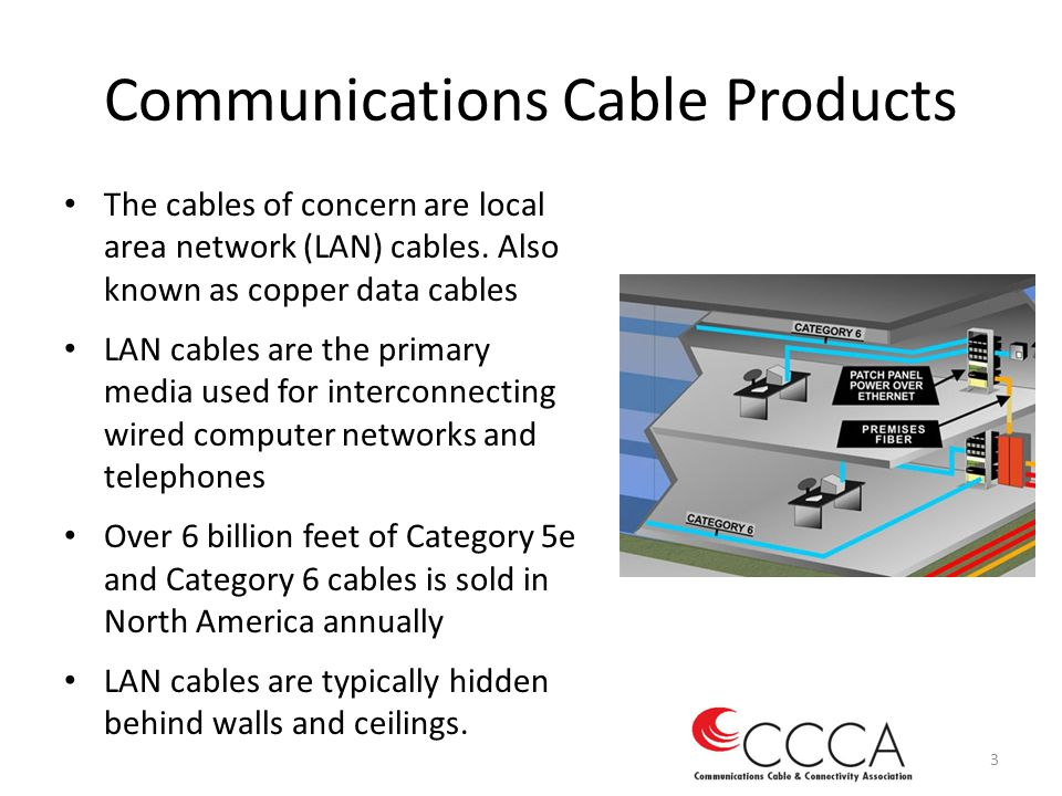 Communications Cable Products The cables of concern are local area network (LAN) cables. Also known as copper data cables LAN cables are the primary m