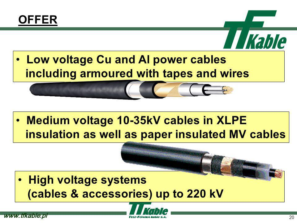 20 OFFER Low voltage Cu and Al power cables including armoured with tapes and wires Medium voltage 10-35kV cables in XLPE insulation as well as paper insulated MV cables High voltage systems (cables & accessories) up to 220 kV www.tfkable.pl