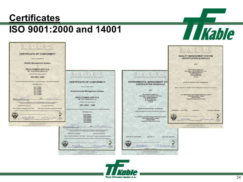 24 Certificates ISO 9001:2000 and 14001