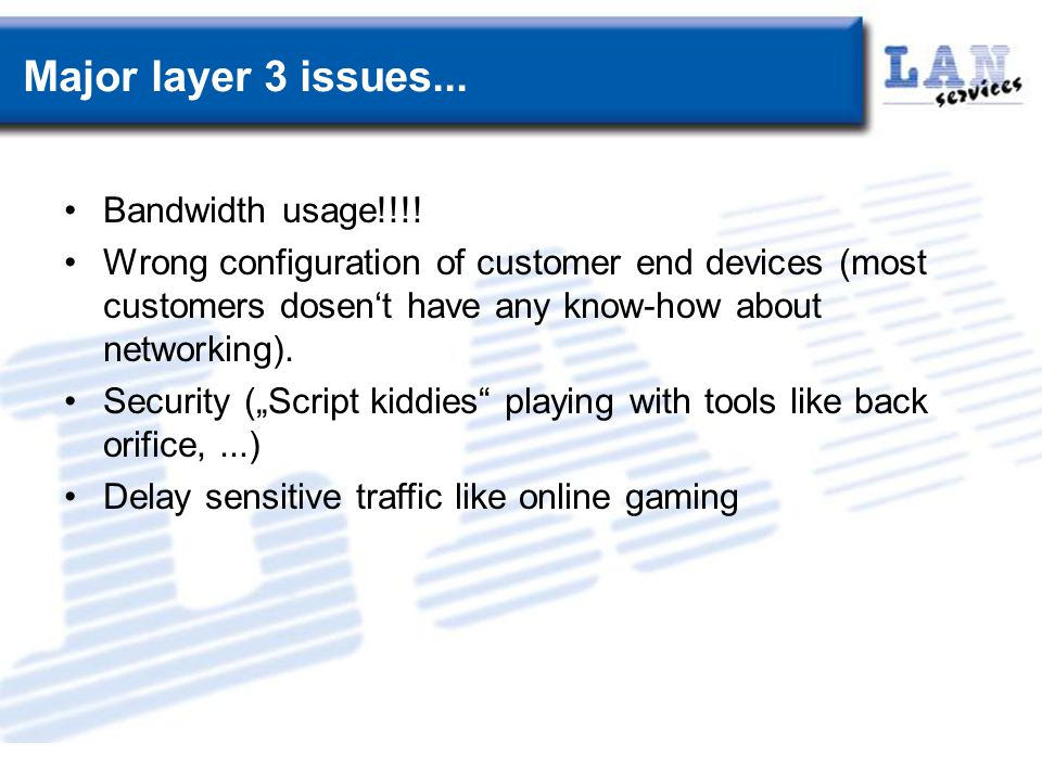 Major layer 3 issues... Bandwidth usage!!!.