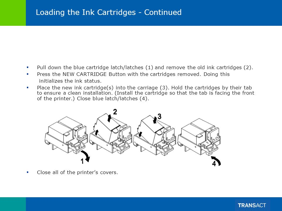 Loading the Ink Cartridges - Continued Pull down the blue cartridge latch/latches (1) and remove the old ink cartridges (2). Press the NEW CARTRIDGE B