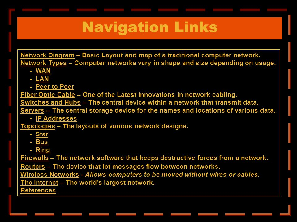 Navigation Links Network DiagramNetwork Diagram – Basic Layout and map of a traditional computer network. Network TypesNetwork Types – Computer networ