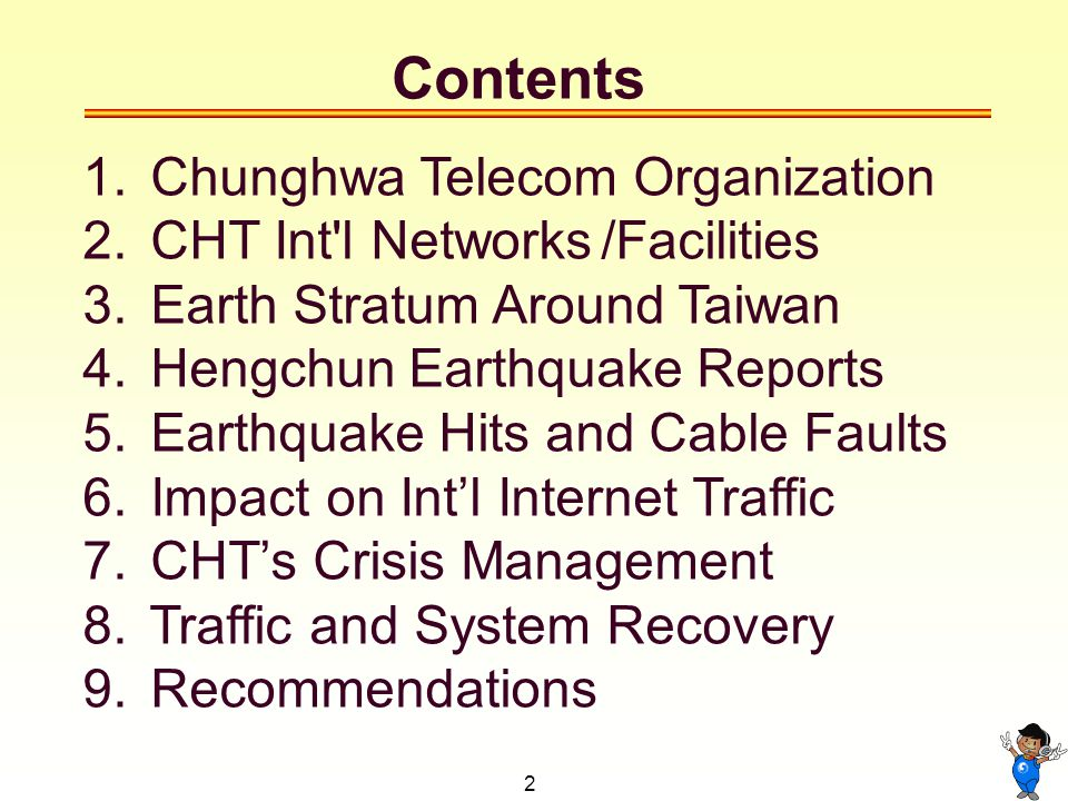 2 Contents 1. Chunghwa Telecom Organization 2. CHT Int l Networks /Facilities 3.