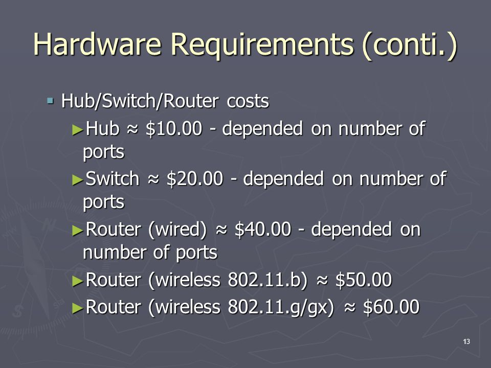 13 Hardware Requirements (conti.) Hub/Switch/Router costs Hub/Switch/Router costs Hub $10.00 - depended on number of ports Hub $10.00 - depended on number of ports Switch $20.00 - depended on number of ports Switch $20.00 - depended on number of ports Router (wired) $40.00 - depended on number of ports Router (wired) $40.00 - depended on number of ports Router (wireless 802.11.b) $50.00 Router (wireless 802.11.b) $50.00 Router (wireless 802.11.g/gx) $60.00 Router (wireless 802.11.g/gx) $60.00